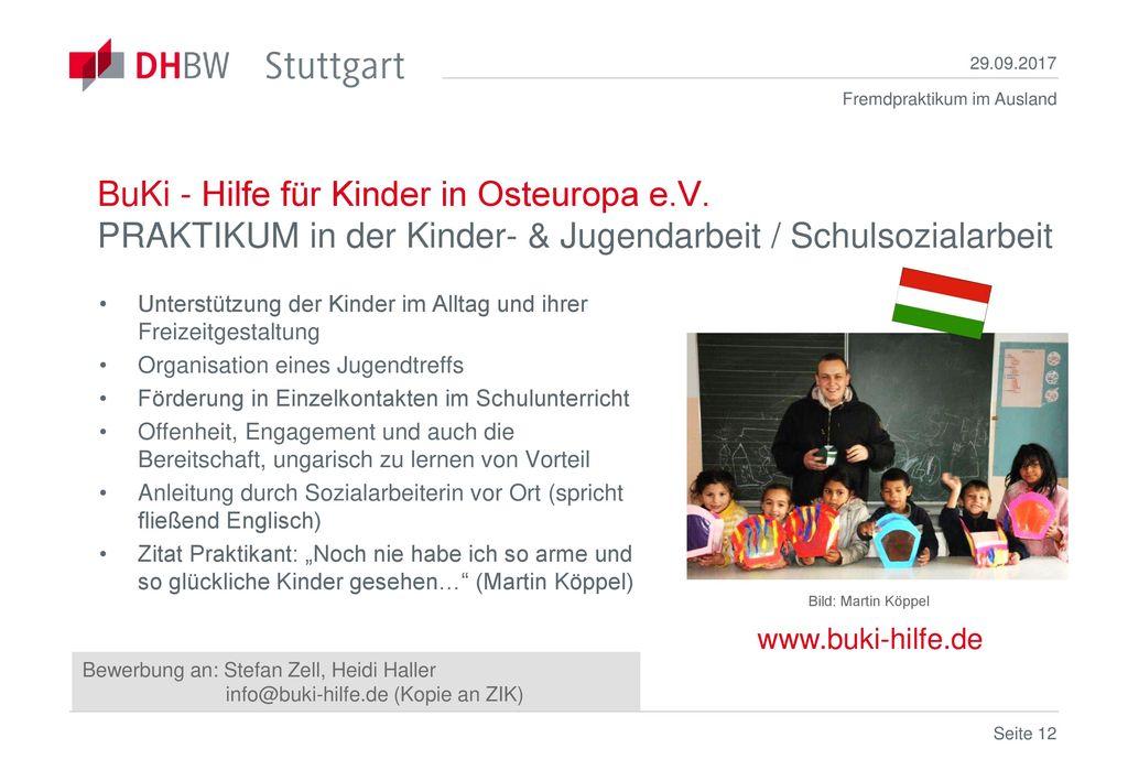 29.09.2017 BuKi - Hilfe für Kinder in Osteuropa e.V. PRAKTIKUM in der Kinder- & Jugendarbeit / Schulsozialarbeit.