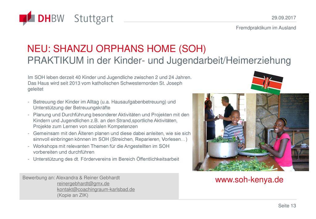 29.09.2017 NEU: SHANZU ORPHANS HOME (SOH) PRAKTIKUM in der Kinder- und Jugendarbeit/Heimerziehung.