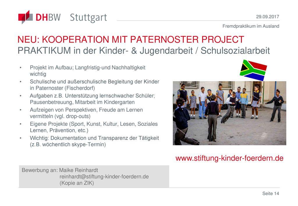 29.09.2017 NEU: KOOPERATION MIT PATERNOSTER PROJECT PRAKTIKUM in der Kinder- & Jugendarbeit / Schulsozialarbeit.