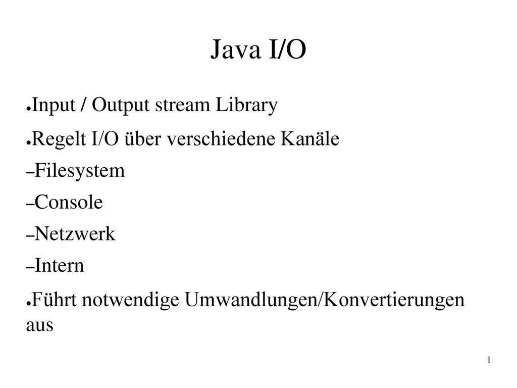 Java I/O Input / Output stream Library