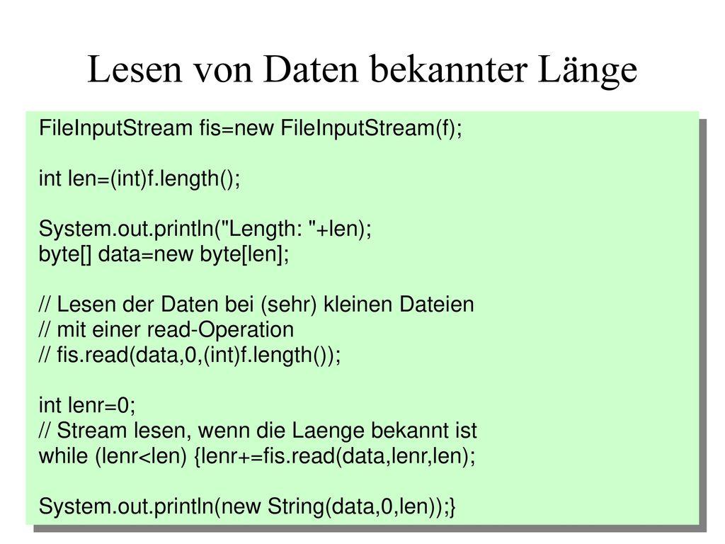 Lesen von Daten bekannter Länge