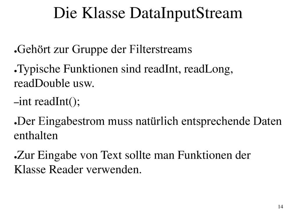 Die Klasse DataInputStream