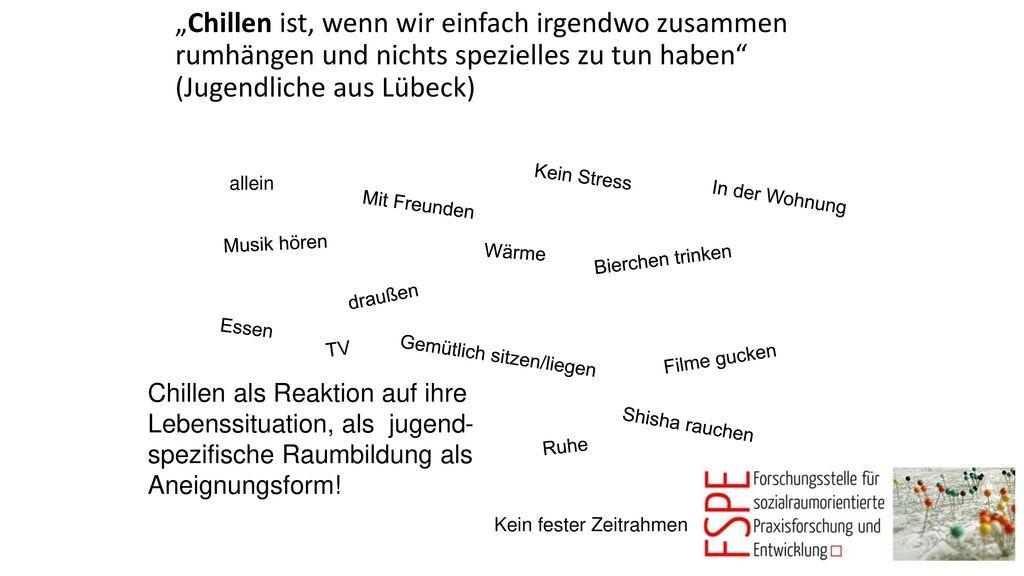 """""""Chillen ist, wenn wir einfach irgendwo zusammen rumhängen und nichts spezielles zu tun haben (Jugendliche aus Lübeck)"""