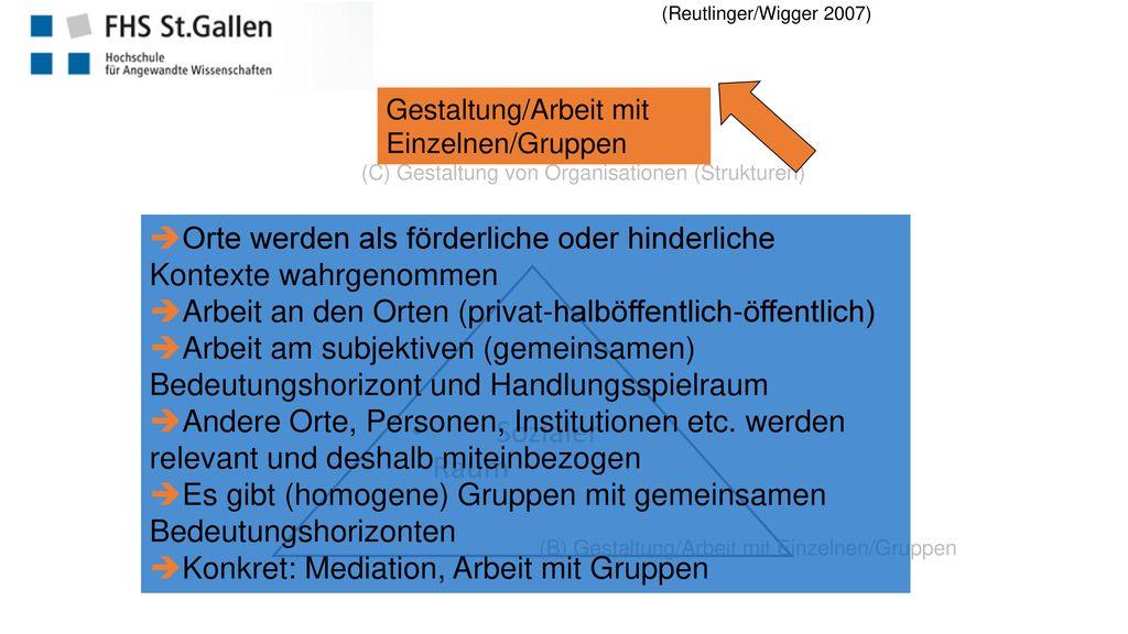 (Reutlinger/Wigger 2007) Gestaltung/Arbeit mit Einzelnen/Gruppen. (C) Gestaltung von Organisationen (Strukturen)