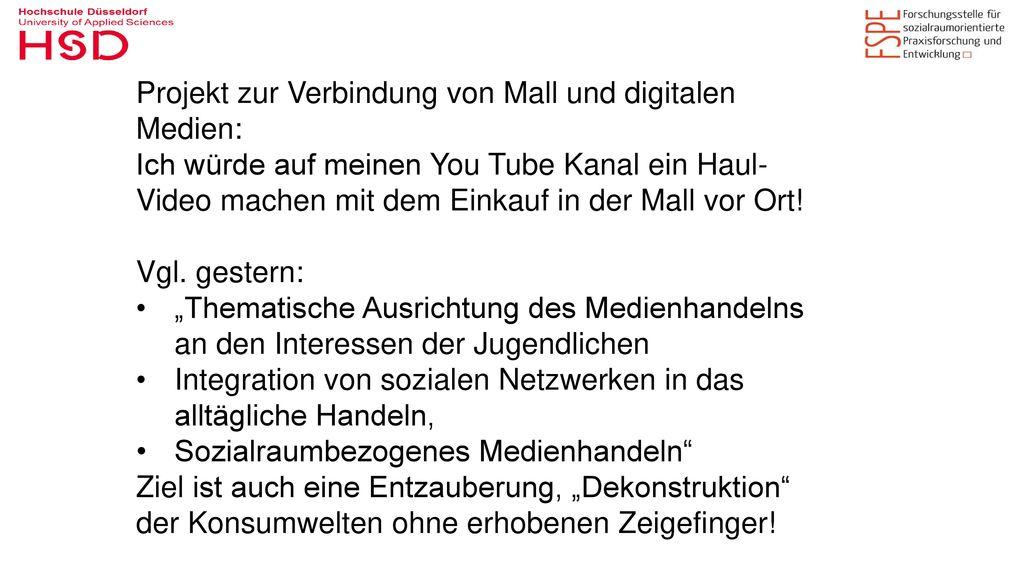 Projekt zur Verbindung von Mall und digitalen Medien: