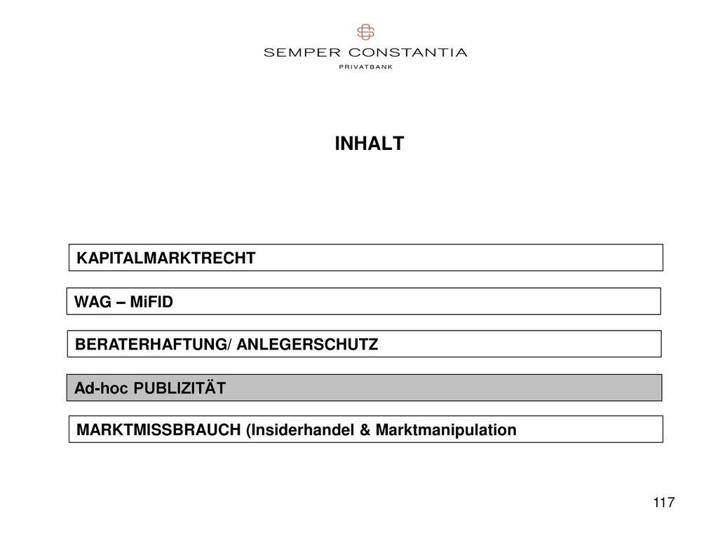 INHALT KAPITALMARKTRECHT WAG – MiFID BERATERHAFTUNG/ ANLEGERSCHUTZ