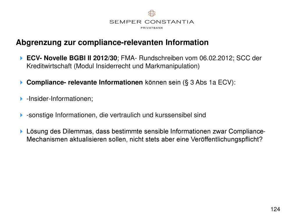 Abgrenzung zur compliance-relevanten Information