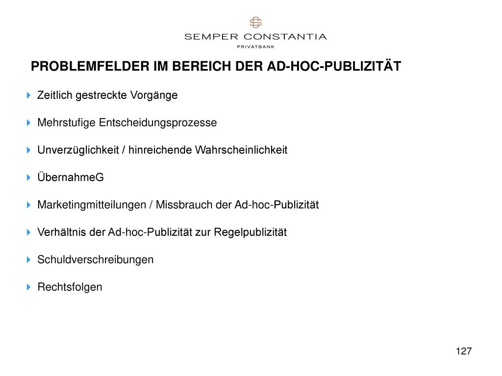 PROBLEMFELDER IM BEREICH DER AD-HOC-PUBLIZITÄT