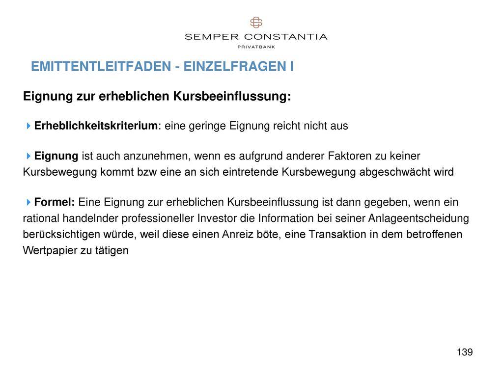 EMITTENTLEITFADEN - EINZELFRAGEN I