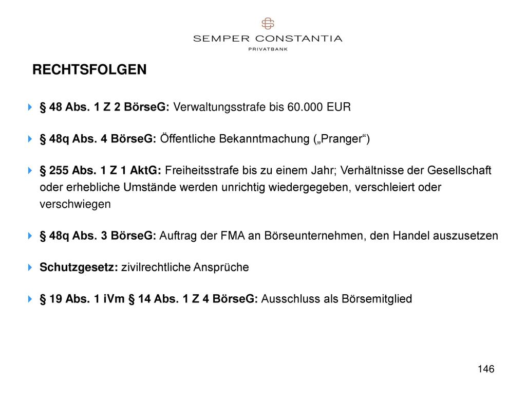 RECHTSFOLGEN § 48 Abs. 1 Z 2 BörseG: Verwaltungsstrafe bis 60.000 EUR