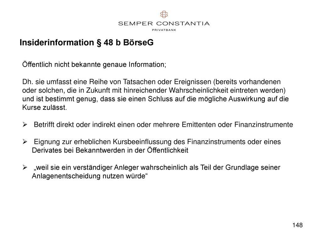 Insiderinformation § 48 b BörseG