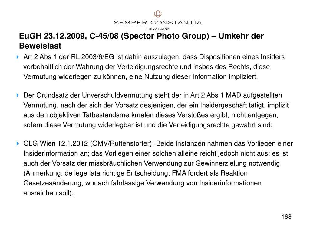 EuGH 23.12.2009, C-45/08 (Spector Photo Group) – Umkehr der Beweislast
