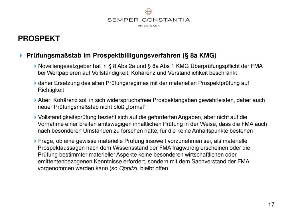 PROSPEKT Prüfungsmaßstab im Prospektbilligungsverfahren (§ 8a KMG)