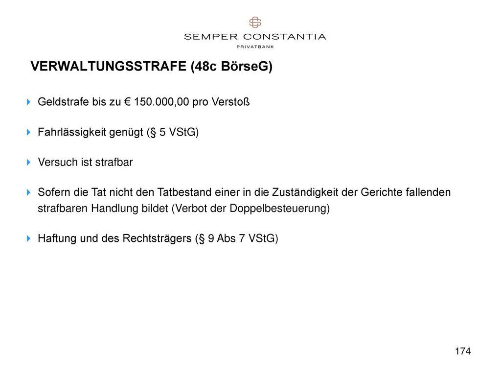 VERWALTUNGSSTRAFE (48c BörseG)