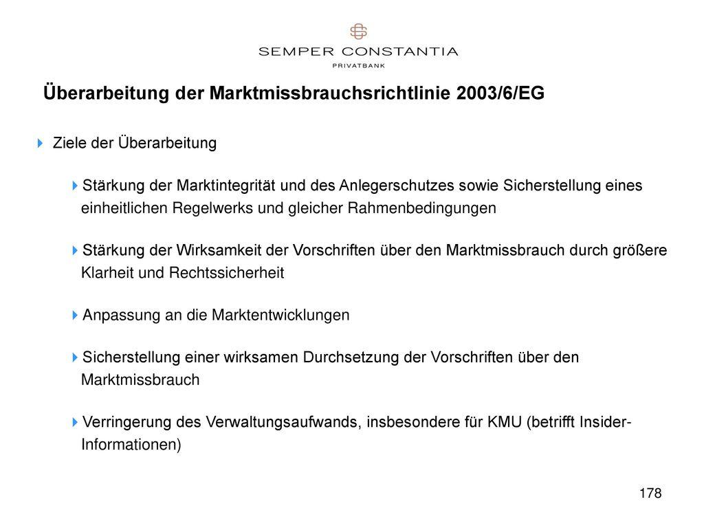 Überarbeitung der Marktmissbrauchsrichtlinie 2003/6/EG