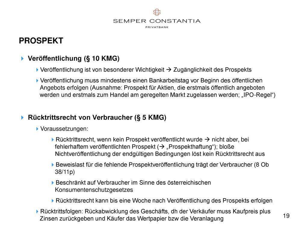 PROSPEKT Veröffentlichung (§ 10 KMG)