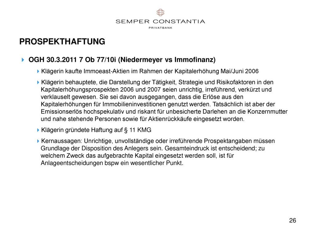 PROSPEKTHAFTUNG OGH 30.3.2011 7 Ob 77/10i (Niedermeyer vs Immofinanz)