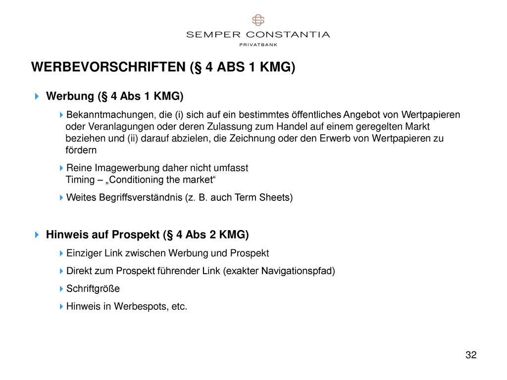 WERBEVORSCHRIFTEN (§ 4 ABS 1 KMG)