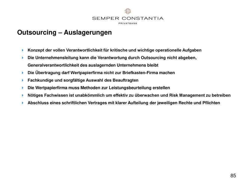 Outsourcing – Auslagerungen