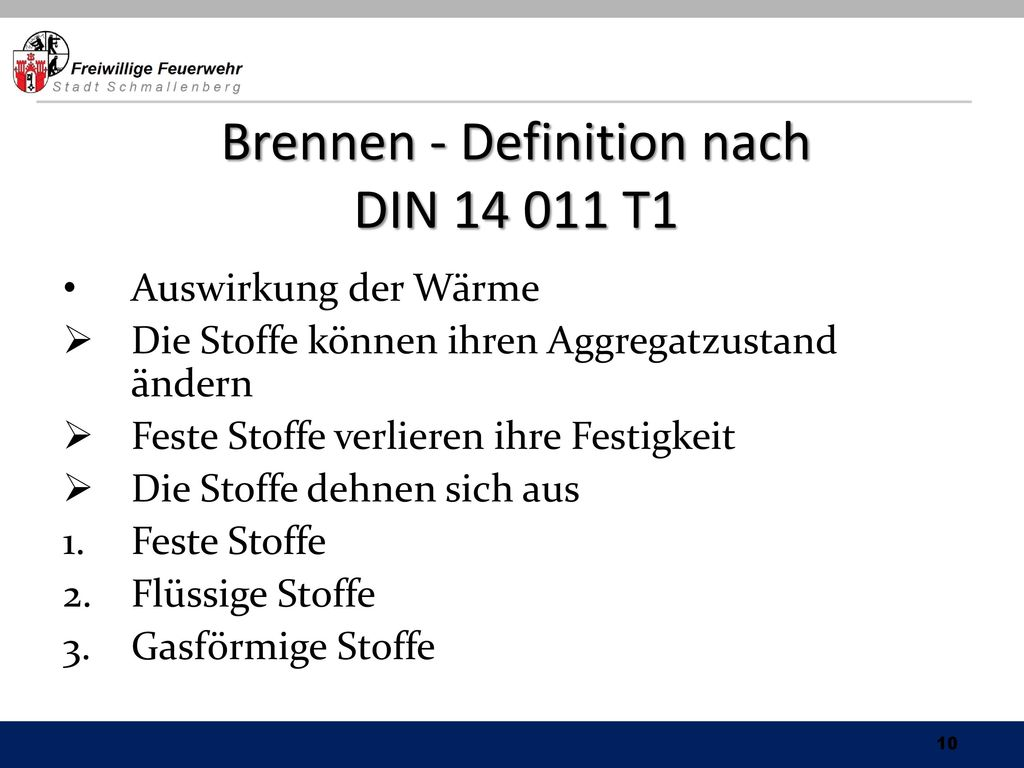 Brennen - Definition nach DIN T1
