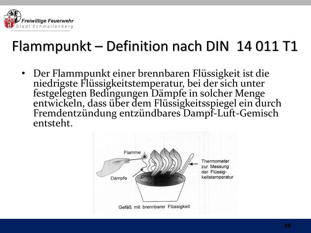 Flammpunkt – Definition nach DIN 14 011 T1