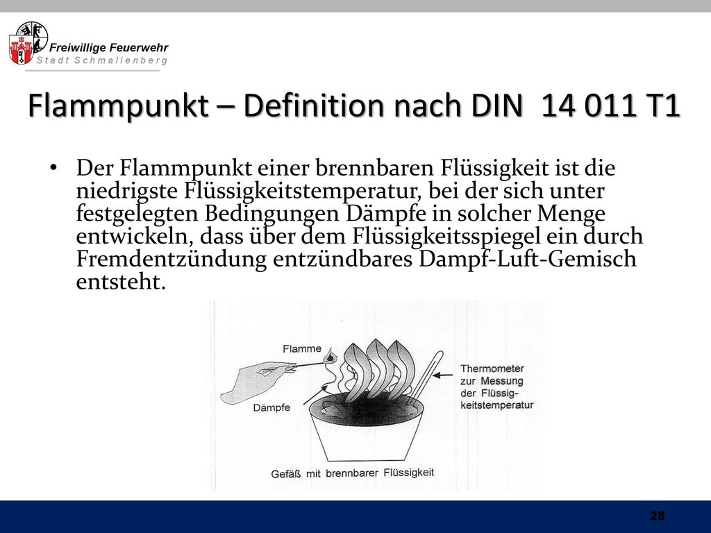 Flammpunkt – Definition nach DIN T1