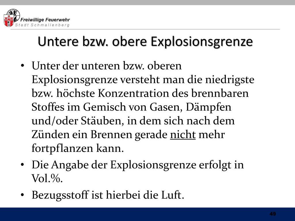 Untere bzw. obere Explosionsgrenze