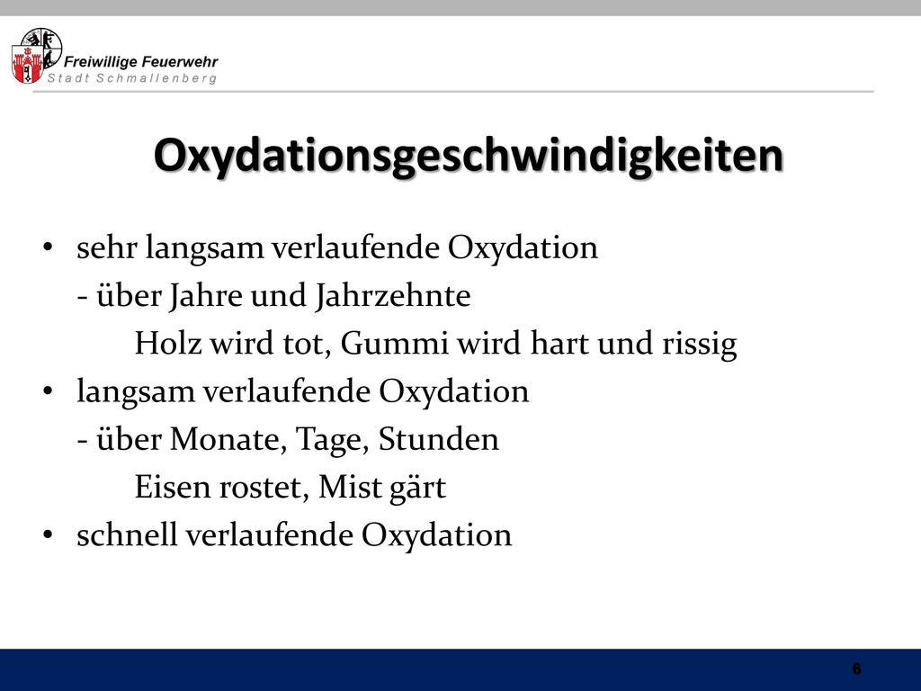 Oxydationsgeschwindigkeiten