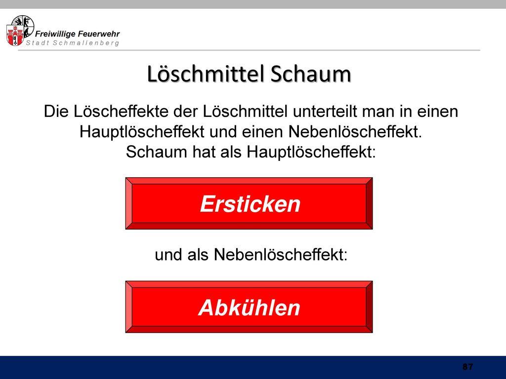 Schaum hat als Hauptlöscheffekt: