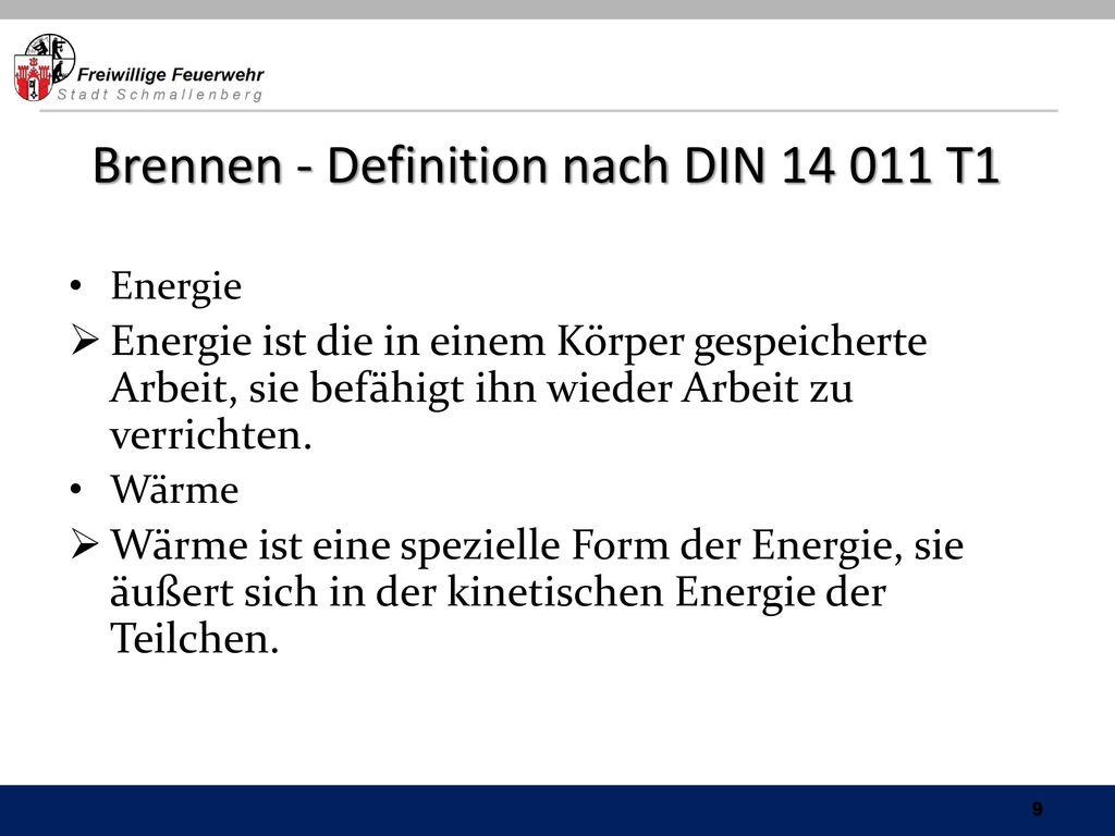 Brennen - Definition nach DIN 14 011 T1