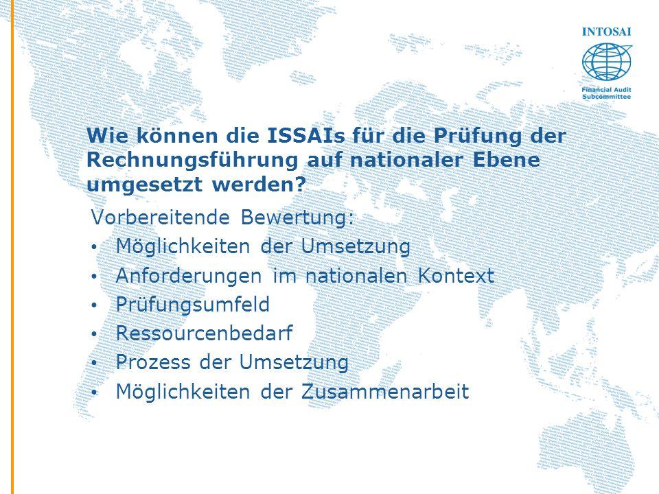 Wie können die ISSAIs für die Prüfung der Rechnungsführung auf nationaler Ebene umgesetzt werden