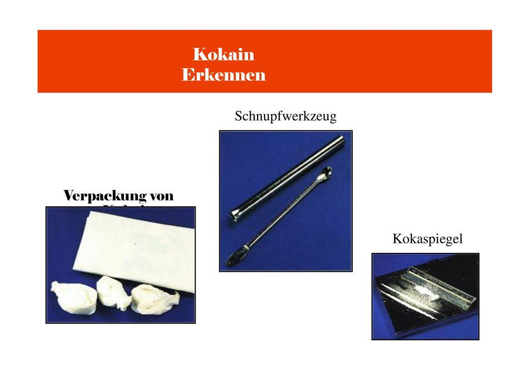 Kokain Erkennen Schnupfwerkzeug Verpackung von Kokain Kokaspiegel