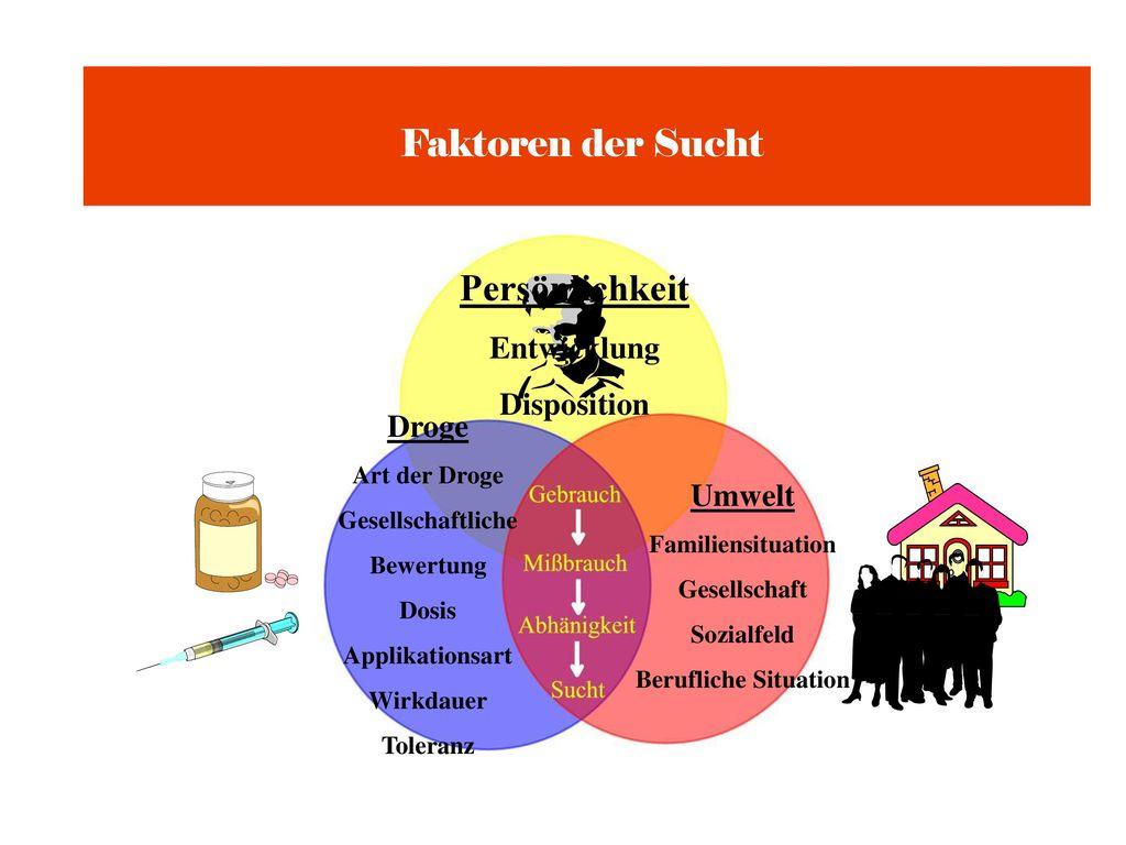 Faktoren der Sucht Persönlichkeit Entwicklung Disposition Droge Umwelt