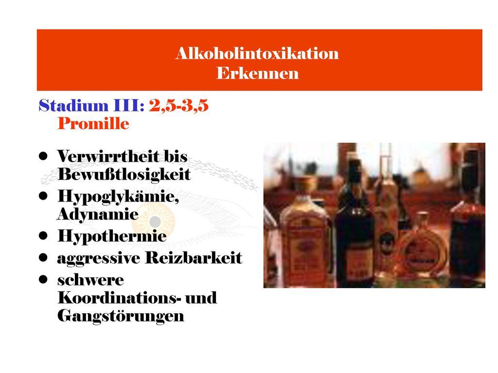 Alkoholintoxikation Erkennen