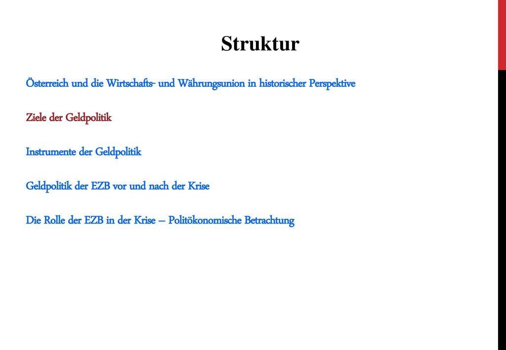 Struktur Österreich und die Wirtschafts- und Währungsunion in historischer Perspektive. Ziele der Geldpolitik.