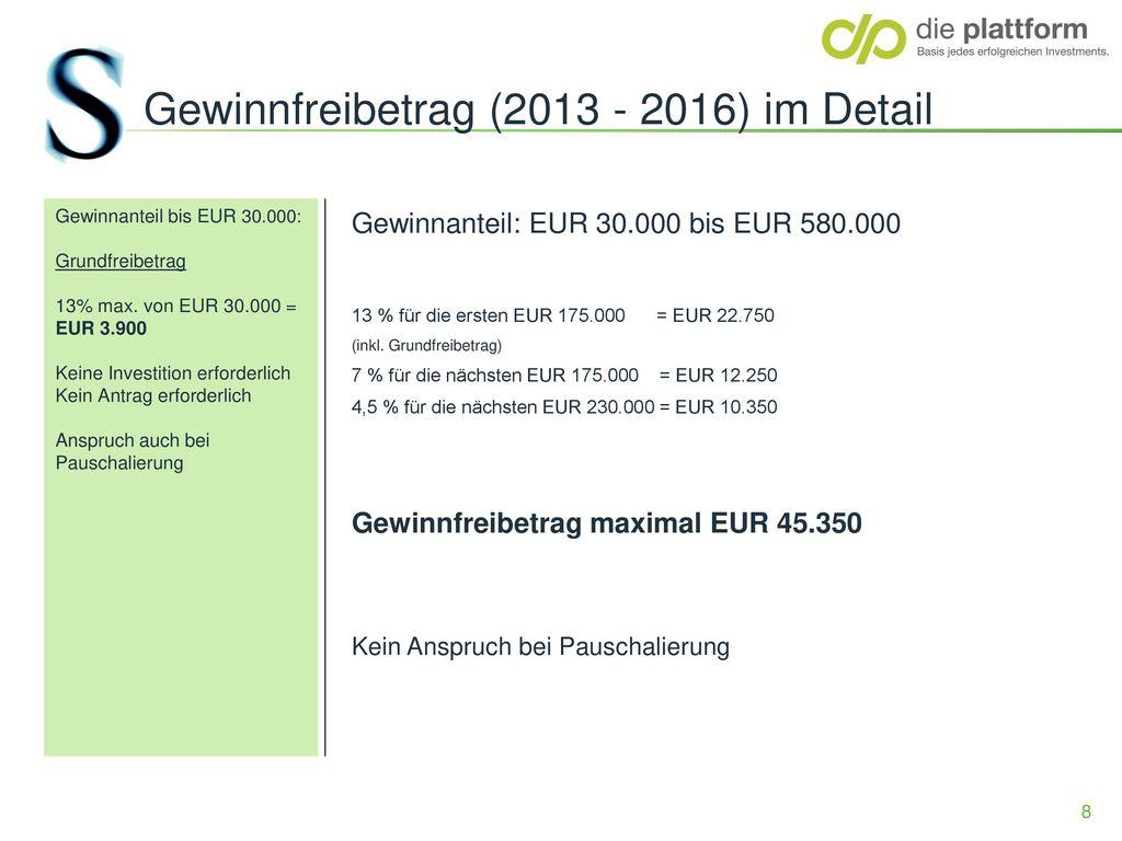 Gewinnfreibetrag (2013 - 2016) im Detail