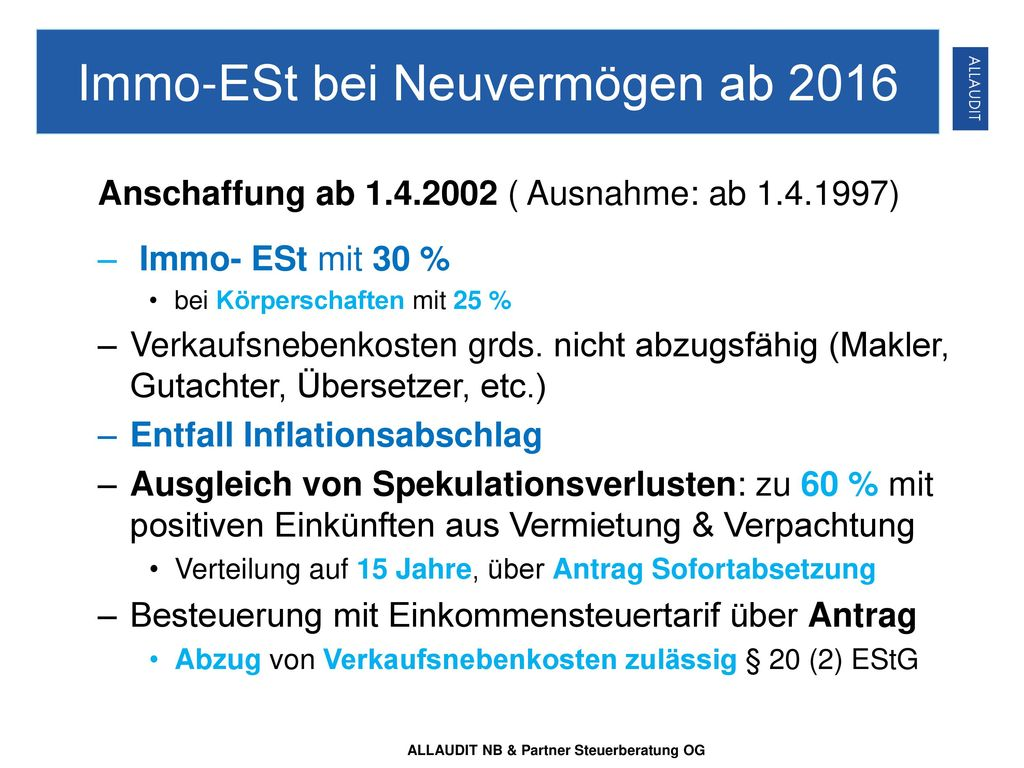 Immo-ESt bei Neuvermögen ab 2016