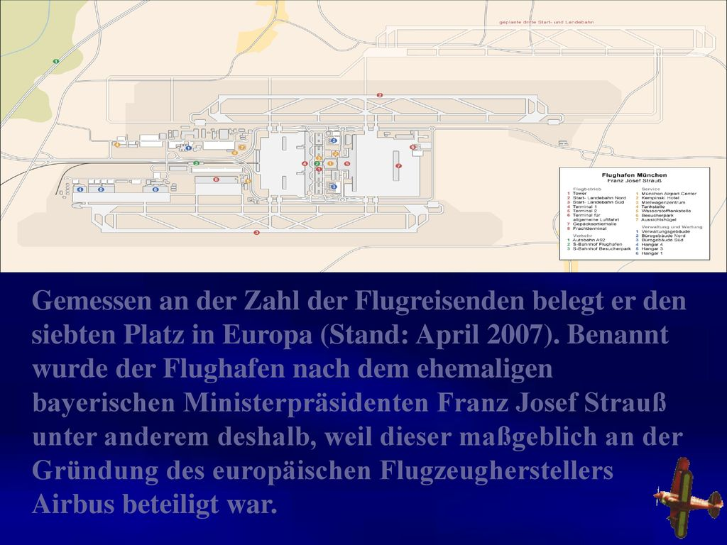 Gemessen an der Zahl der Flugreisenden belegt er den siebten Platz in Europa (Stand: April 2007).