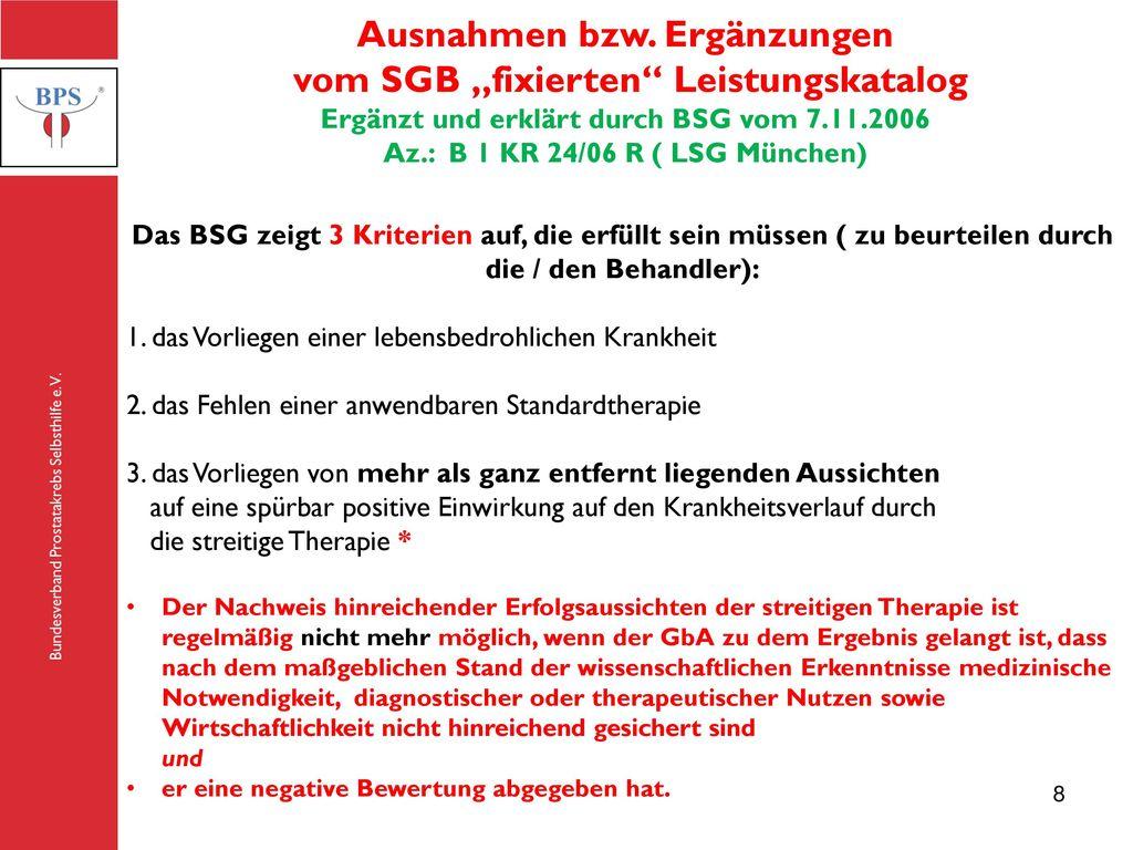 """Ausnahmen bzw. Ergänzungen vom SGB """"fixierten Leistungskatalog"""