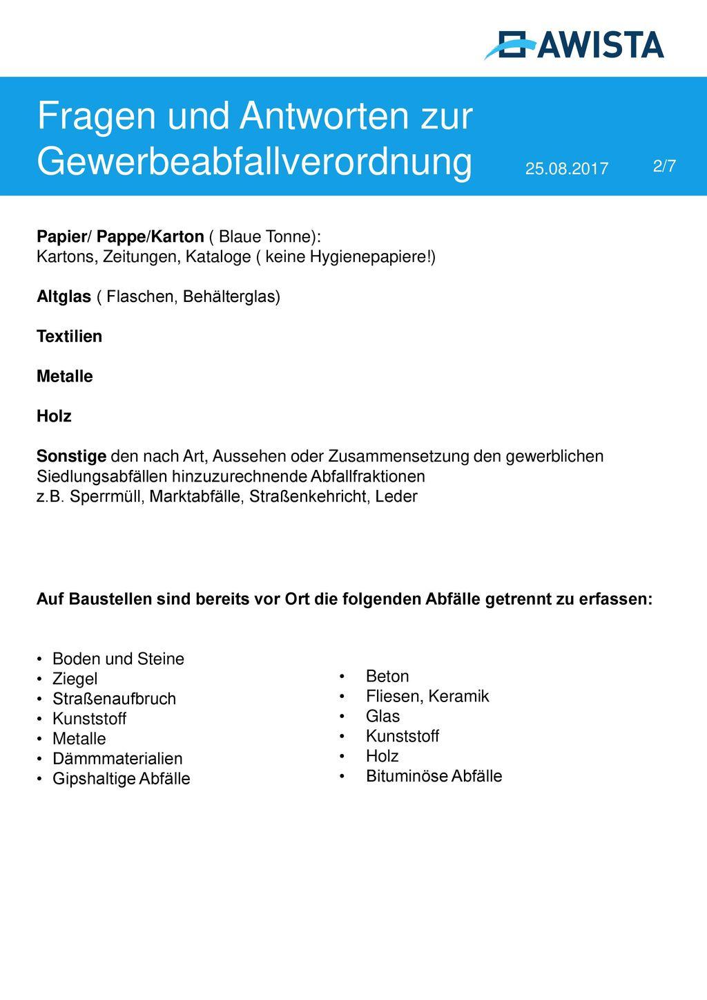 Fragen und Antworten zur Gewerbeabfallverordnung 25.08.2017