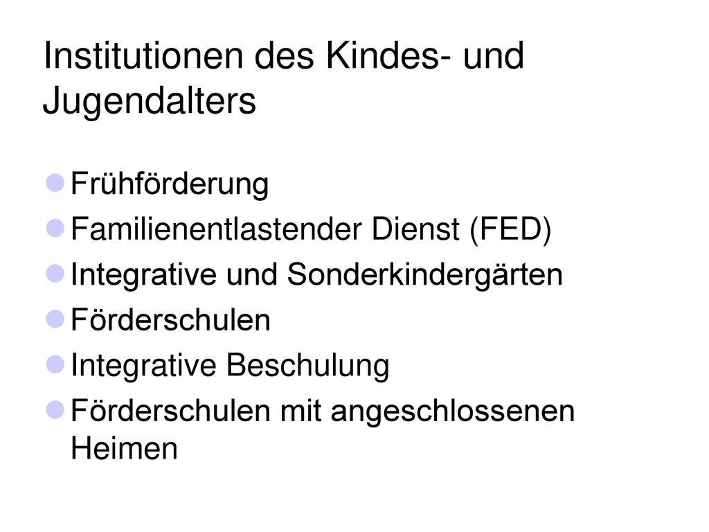 Institutionen des Kindes- und Jugendalters