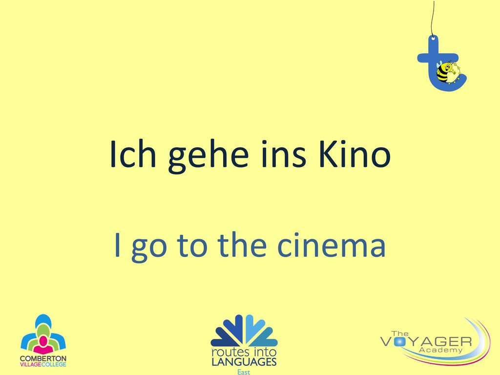 Ich gehe ins Kino I go to the cinema