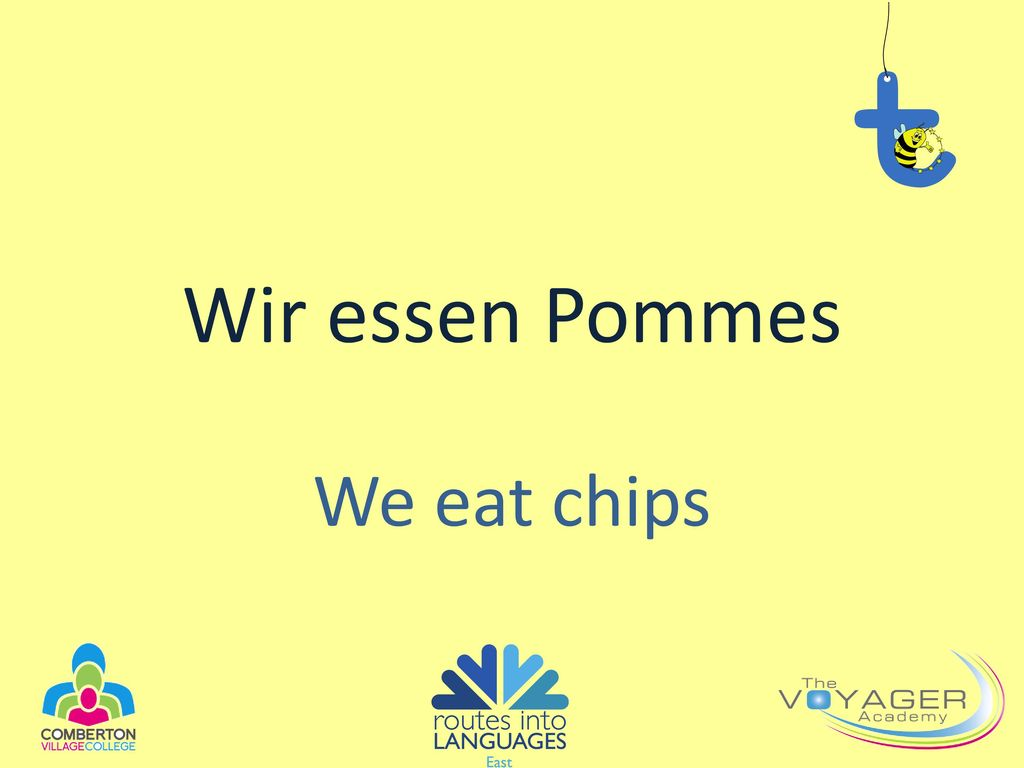 Wir essen Pommes We eat chips