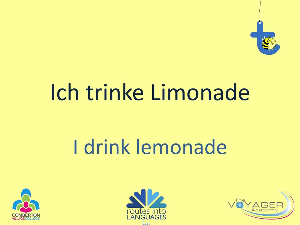 Ich trinke Limonade I drink lemonade