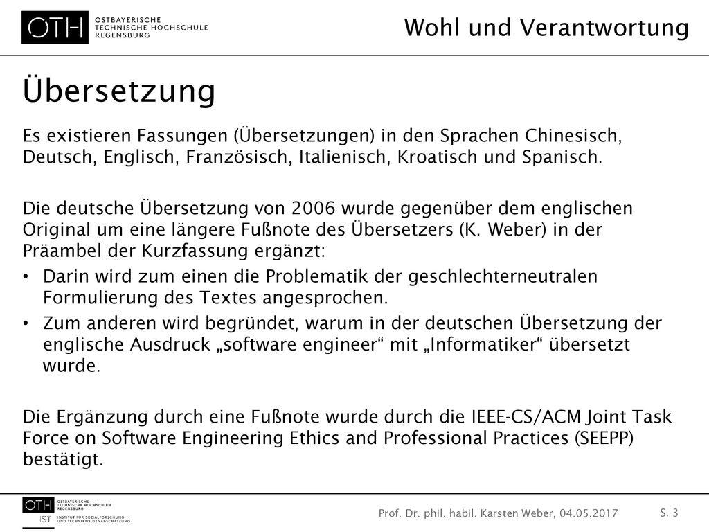 Prof. Dr. phil. habil. Karsten Weber, 04.05.2017