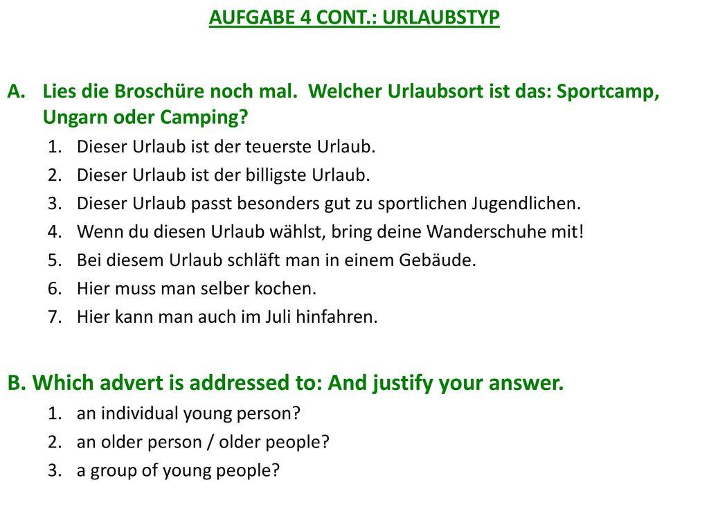 AUFGABE 4 CONT.: URLAUBSTYP