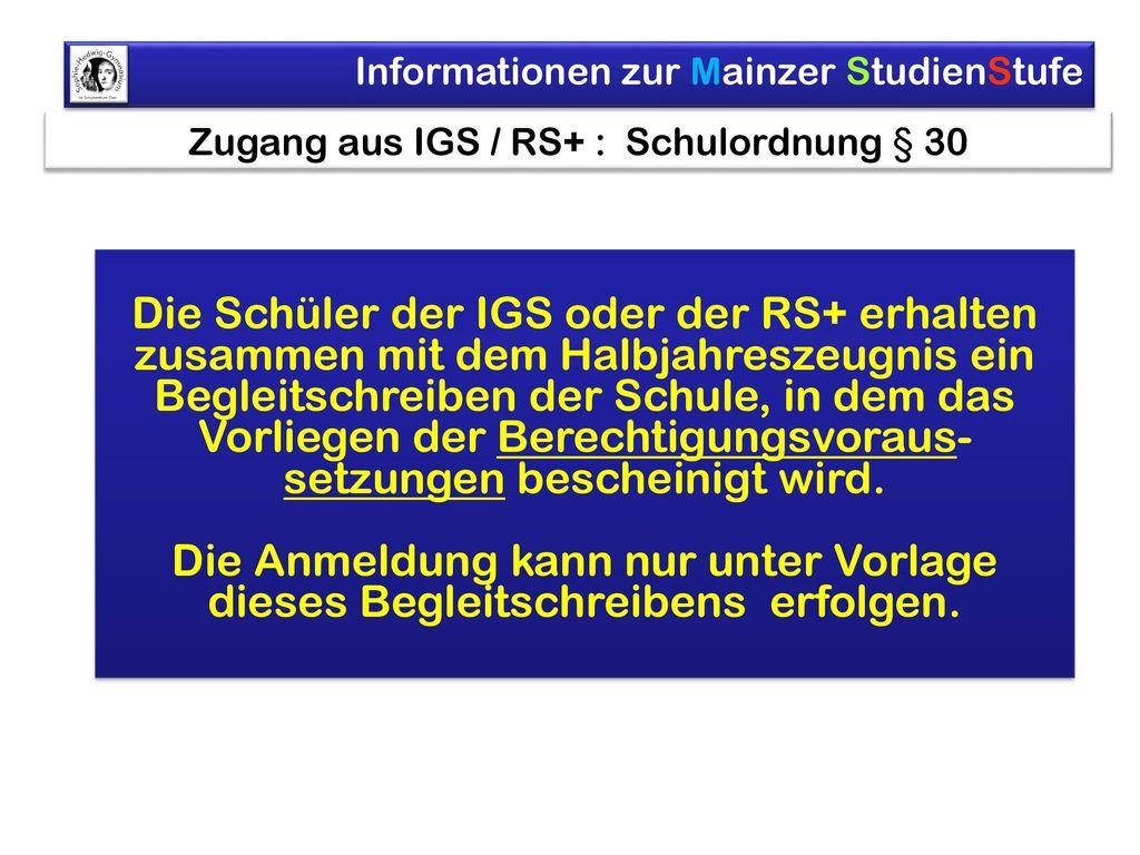 Zugang aus IGS / RS+ : Schulordnung § 30