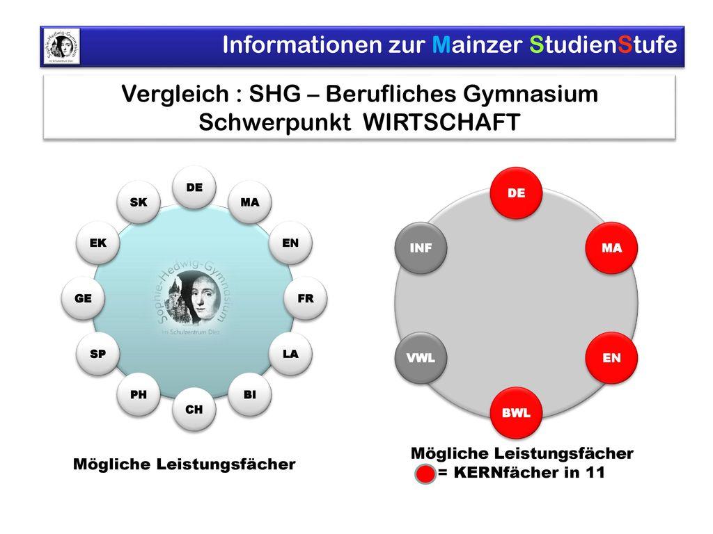Vergleich : SHG – Berufliches Gymnasium Schwerpunkt WIRTSCHAFT