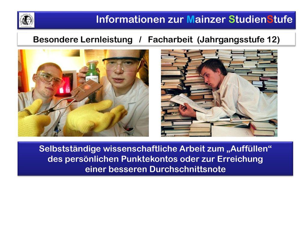 Besondere Lernleistung / Facharbeit (Jahrgangsstufe 12)