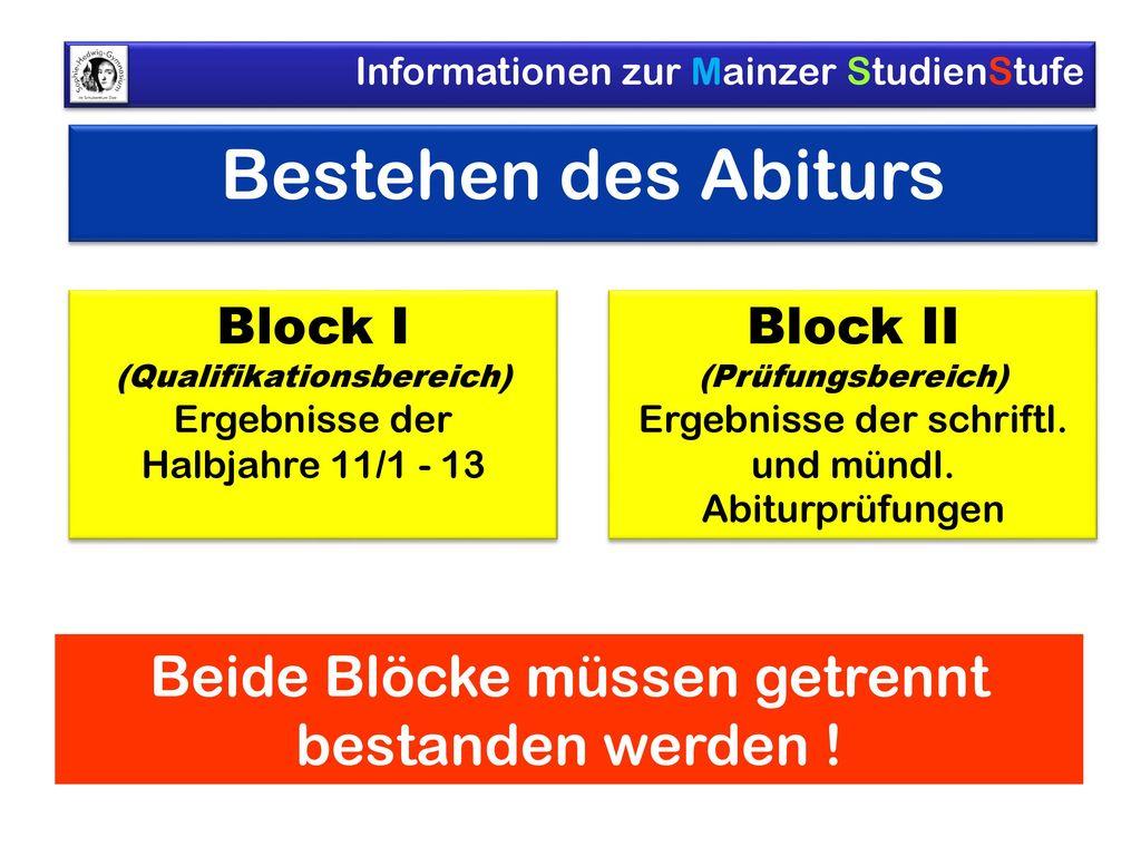 Bestehen des Abiturs Beide Blöcke müssen getrennt bestanden werden !